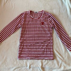 Comme des Garçons red & white striped long sleeve